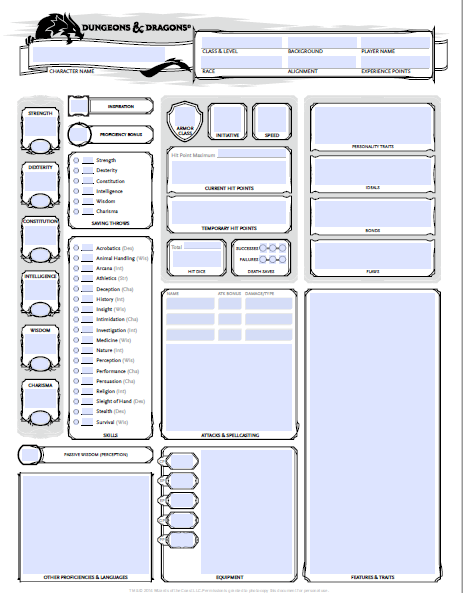 Dnd 5e Character Sheet Fillable PDF Free Download - Dungeons and Dragons