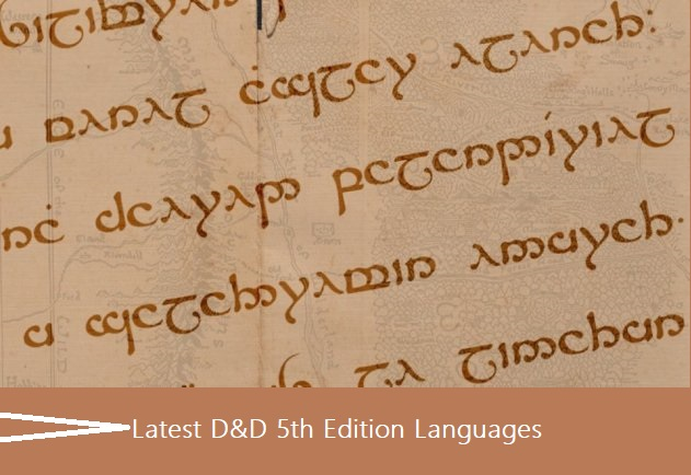 D&D 5th Edition Languages